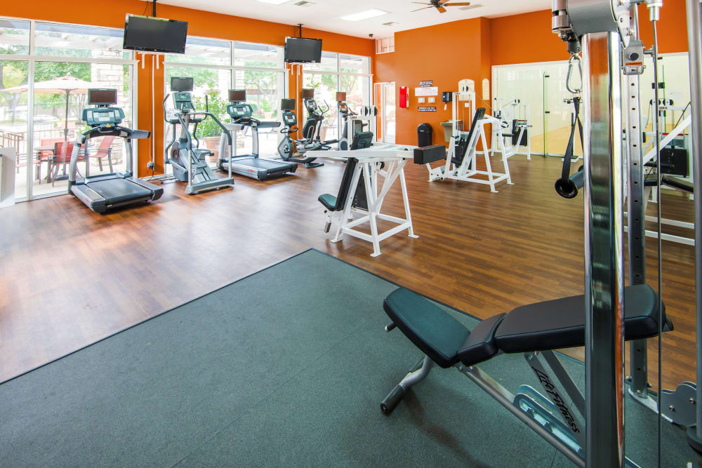 Spacious fitness center at Villas of Preston Creek in Plano, Texas