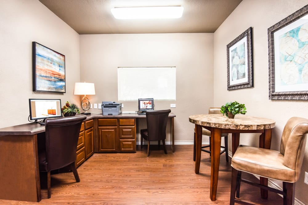 Business center at Villas of Preston Creek in Plano, Texas
