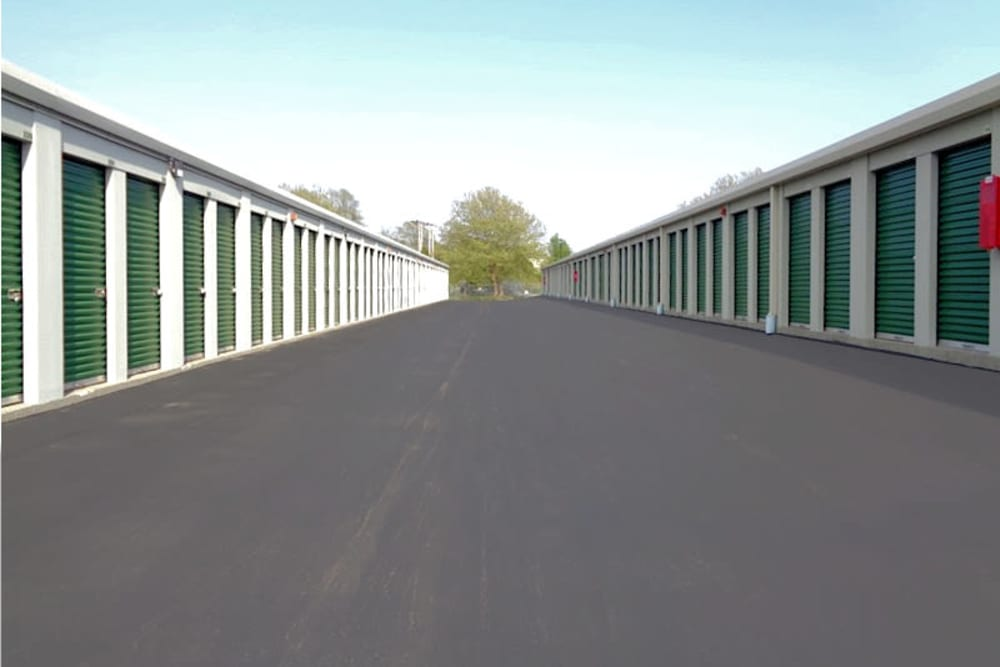 Wide driveways at Prime Storage in Portsmouth, RI