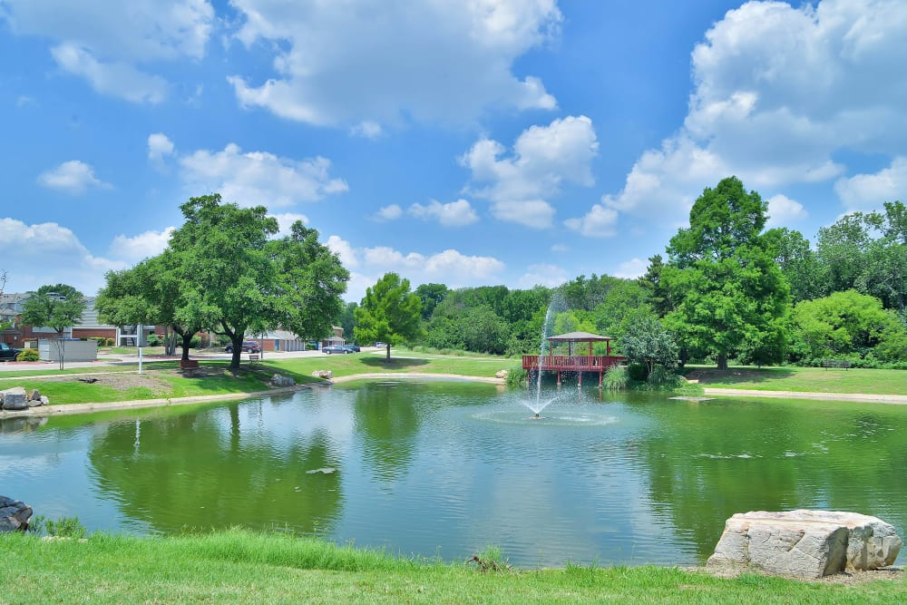 Unique lake at Fountains at Steeplechase Apartments in Plano, Texas