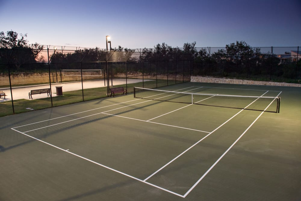Beautiful tennis court at Villas in Westover Hills in San Antonio, Texas