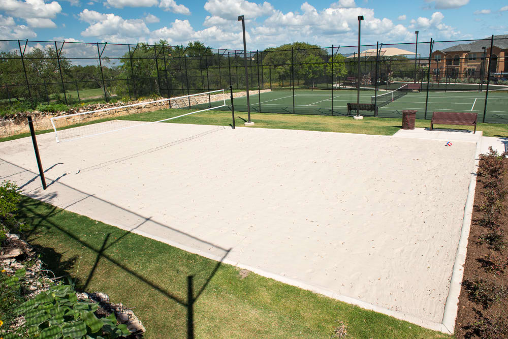 The beach volleyball court at Villas in Westover Hills in San Antonio, Texas