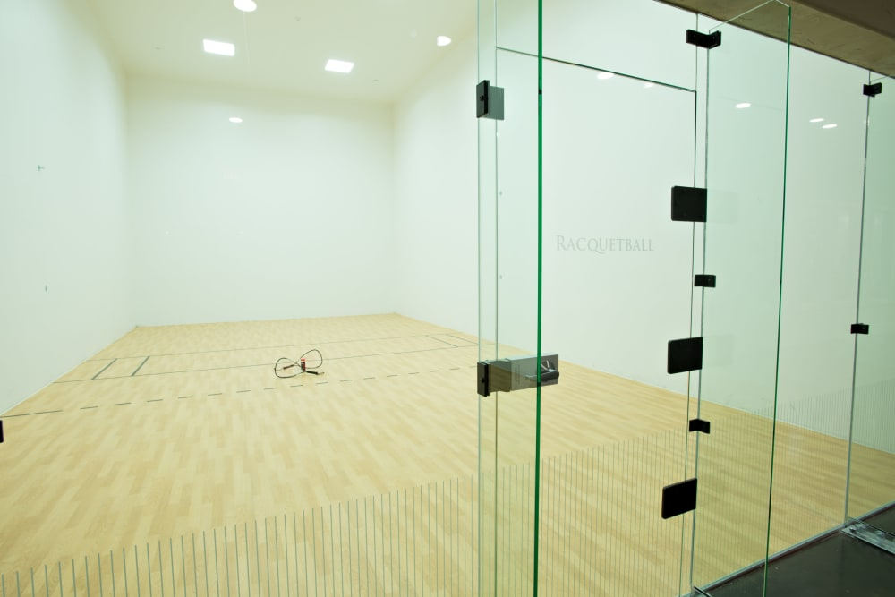 Modern racquetball court at Villas in Westover Hills in San Antonio, Texas