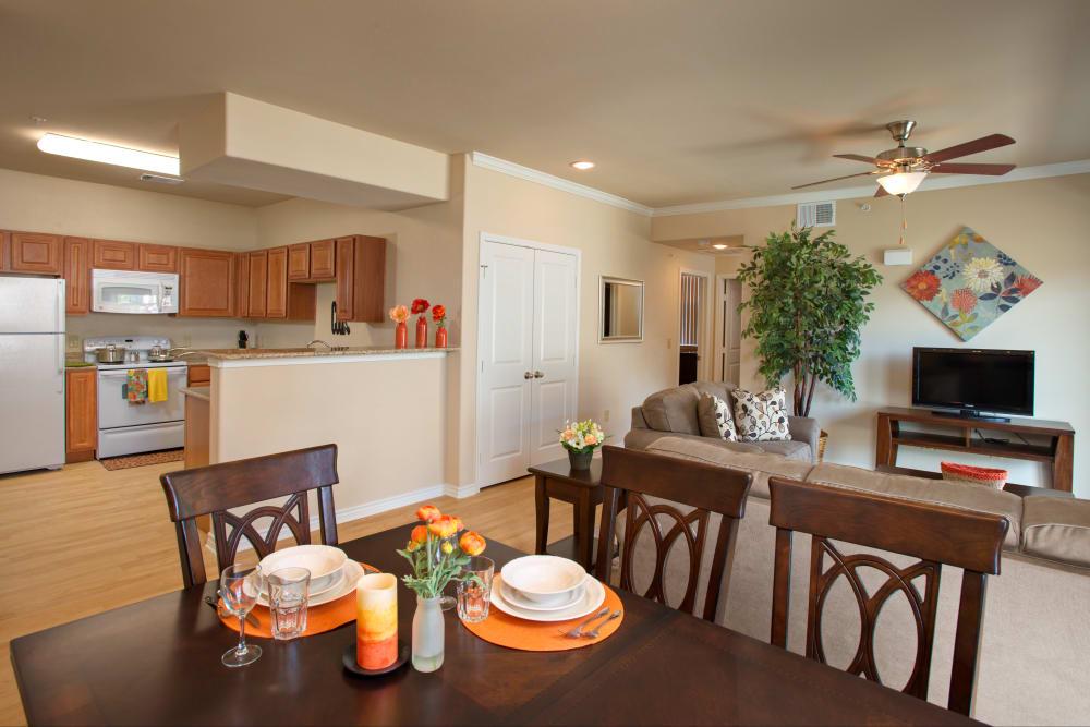 A bright, open floor plan at Villas in Westover Hills in San Antonio, Texas