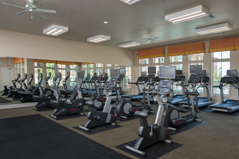 modern fitness center at Villas in Westover Hills in San Antonio, Texas