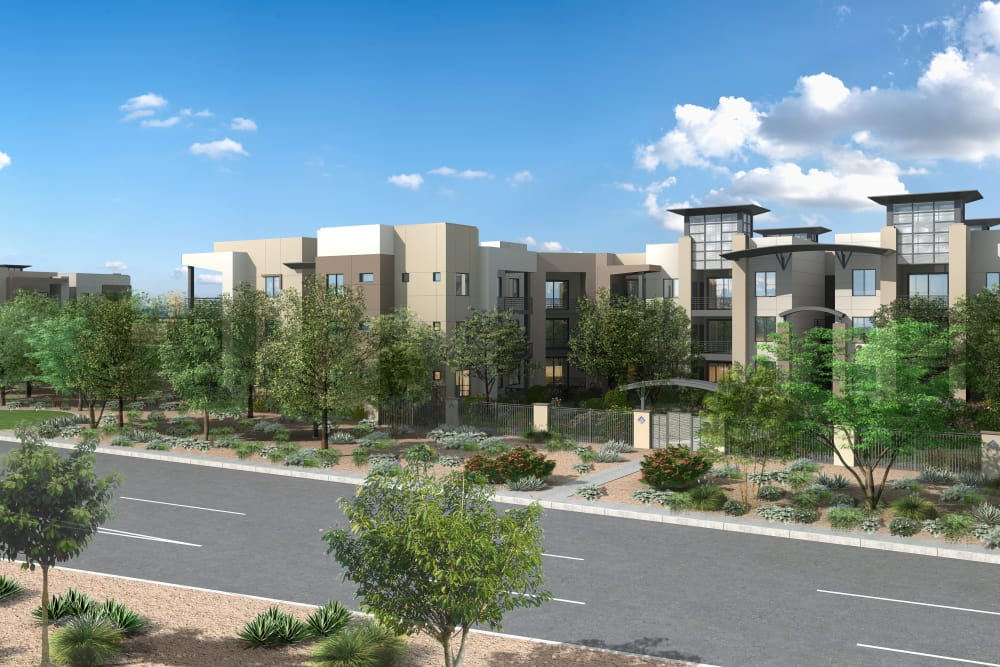 View of the apartments at Sky at Chandler Airpark in Chandler, Arizona