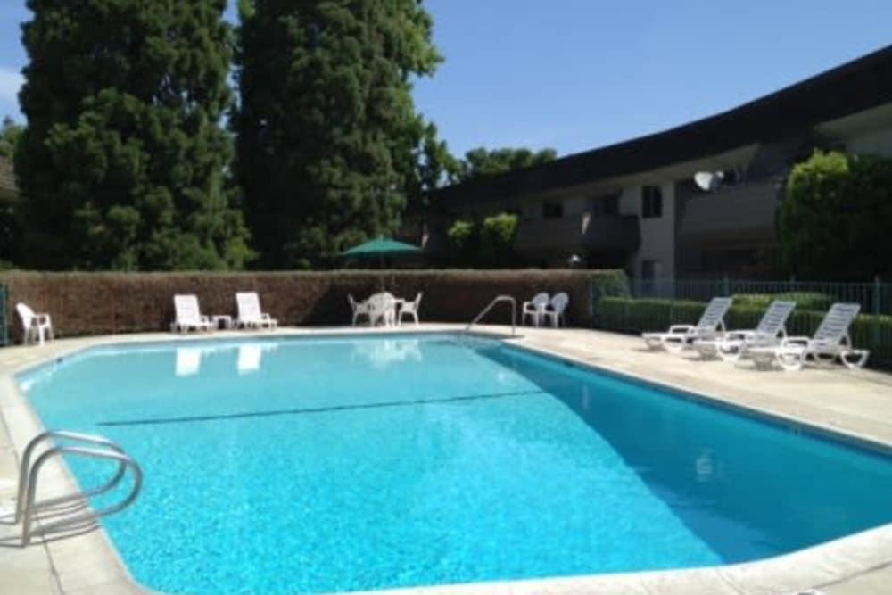 The swimming pool at Hacienda Apartments in Sacramento, CA