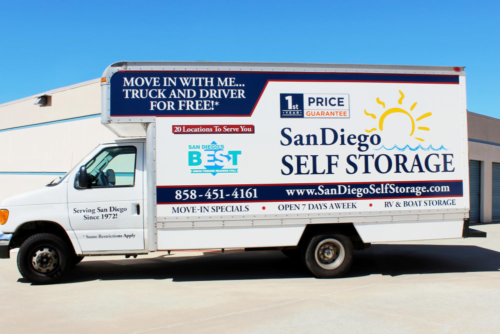 Self storage truck at Carlsbad Self Storage in Carlsbad, CA