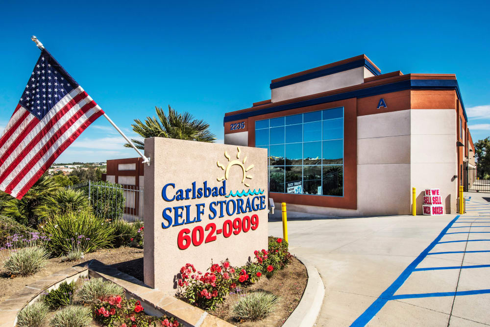 Front entrance at Carlsbad Self Storage in Carlsbad, CA