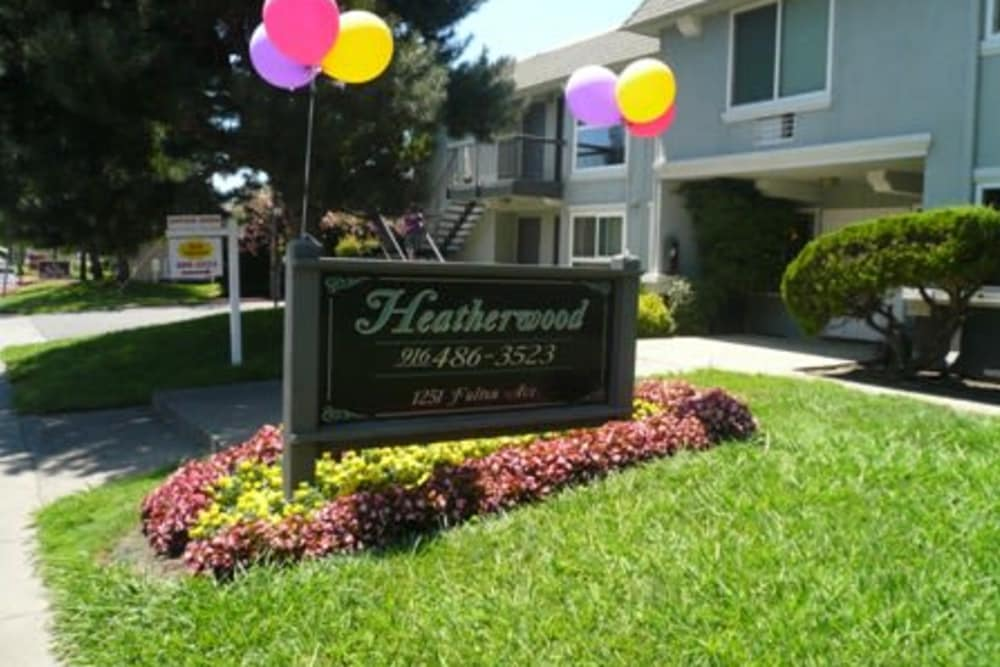 Front entrance to Heatherwood Apartments in Sacramento, CA