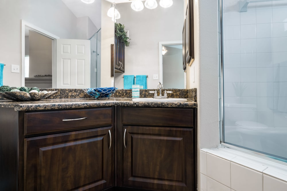 Bathroom at Villas at Parkside in Farmers Branch, Texas