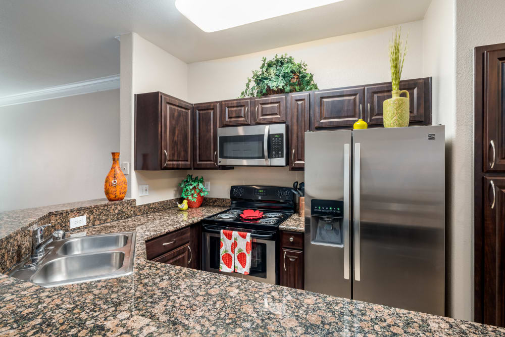 Kitchen at Villas at Parkside in Farmers Branch, Texas