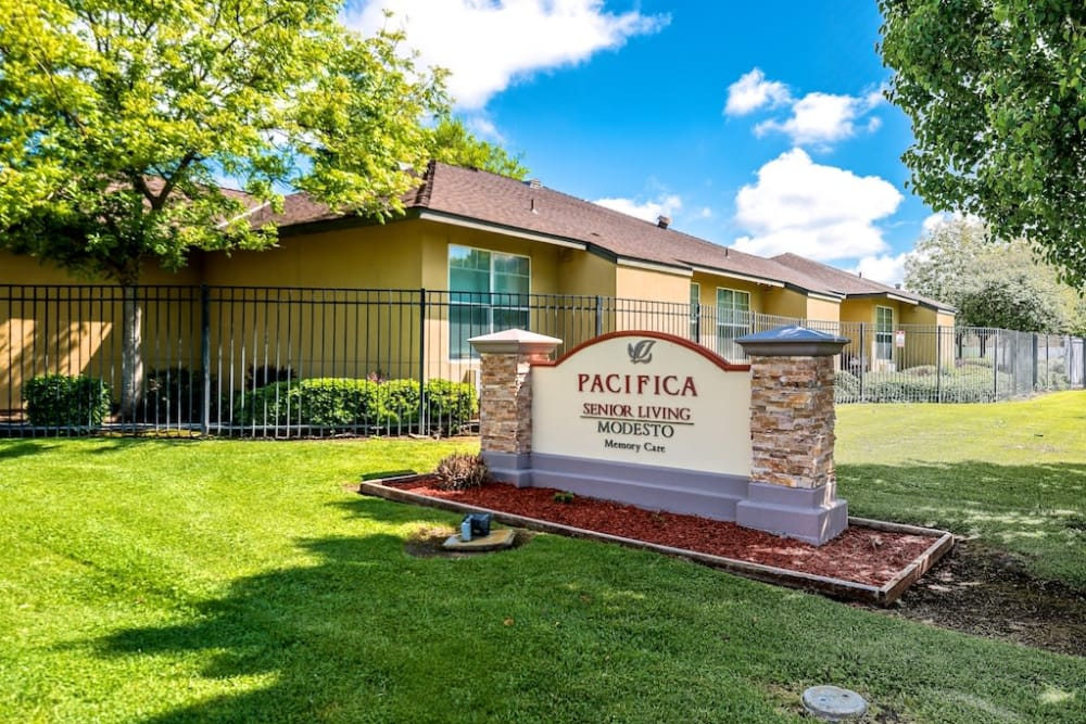 Signage at Pacifica Senior Living Modesto in Modesto, CA