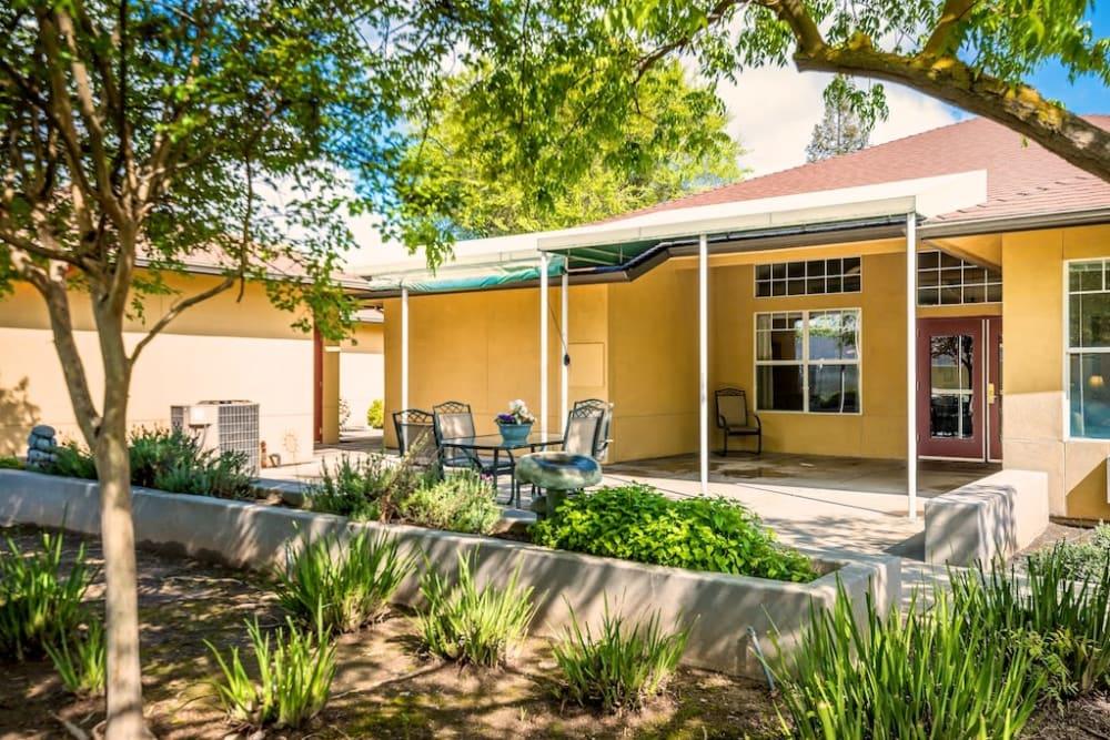Patio at our senior living facility in Modesto, California