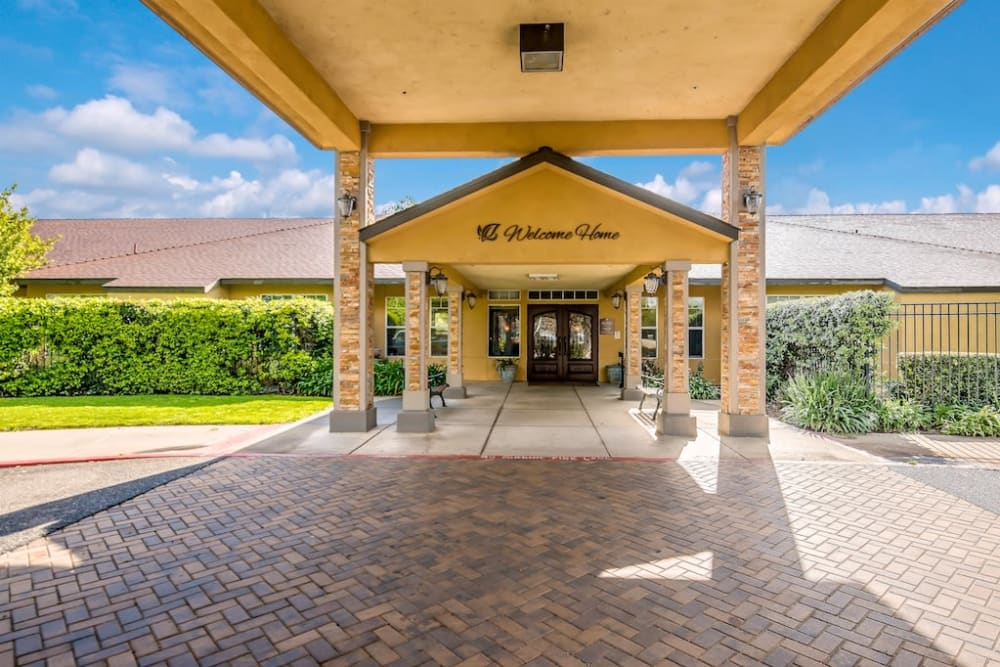 Welcome sign at Pacifica Senior Living Modesto in Modesto, California