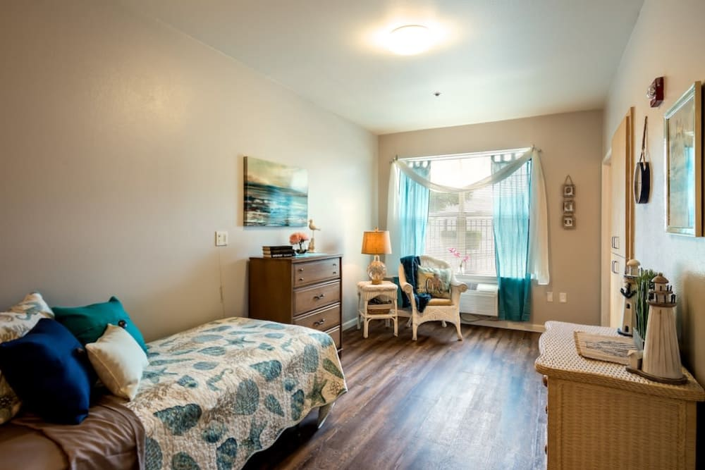 Bedroom at Pacifica Senior Living Modesto in Modesto, California