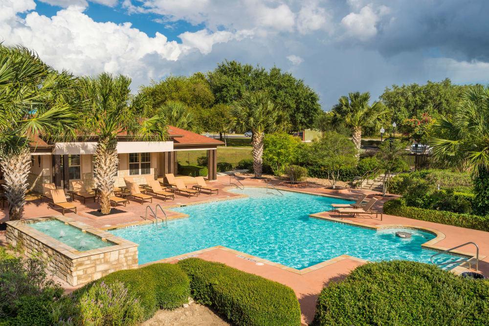 Beautiful swimming pool view at Villas at Medical Center in San Antonio, Texas