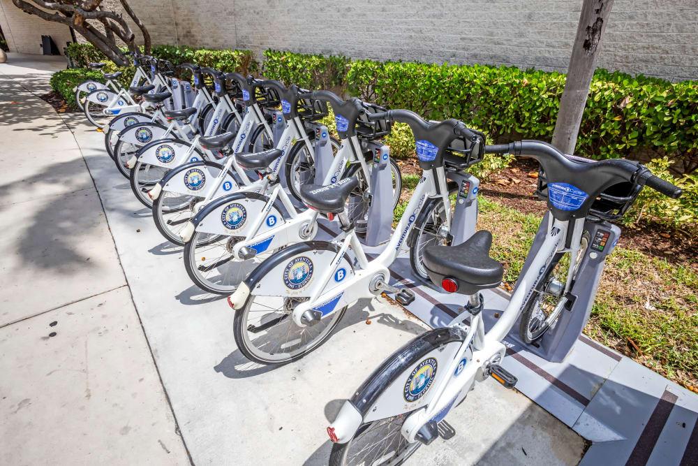 Bikes for resident use at Aliro Apartments in North Miami, Florida