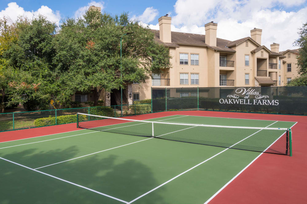 Unique tennis court at Villas at Oakwell Farms in San Antonio, Texas