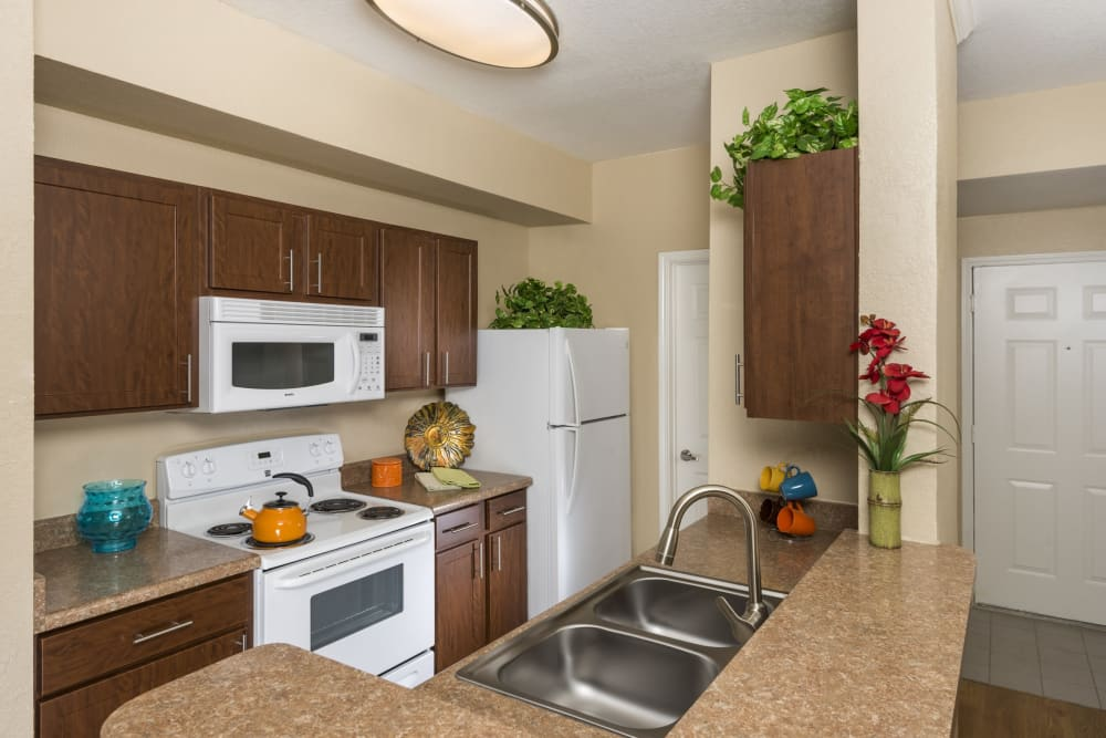 Well equipped kitchen at Villas at Oakwell Farms in San Antonio, Texas