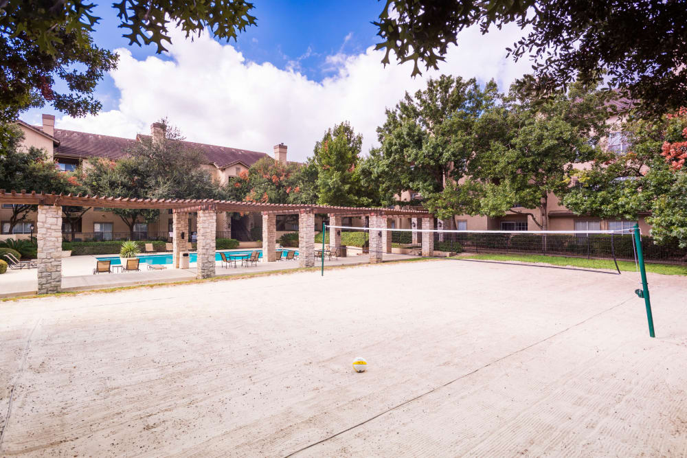 Beautiful beach volleyball court at Villas at Oakwell Farms in San Antonio, Texas
