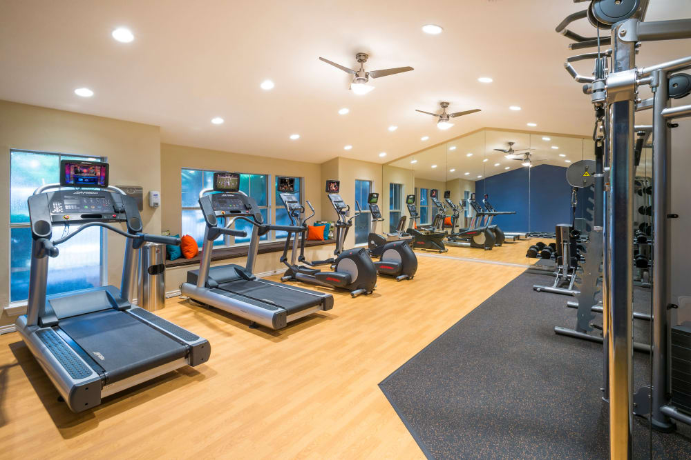 Modern fitness center at Villas at Oakwell Farms in San Antonio, Texas
