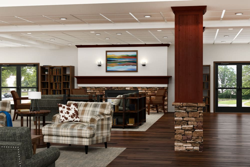 Rendering of lounge at Pine Grove Crossing in Parker, Colorado