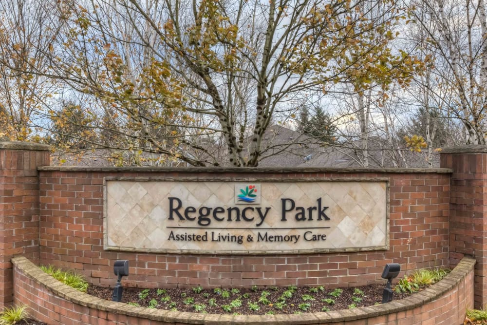 Front entrance sign at Regency Park in Portland, Oregon