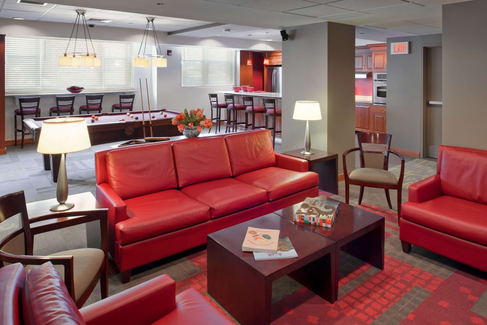 Lounge area inside of clubhouse at Parkside Place in Cambridge, Massachusetts
