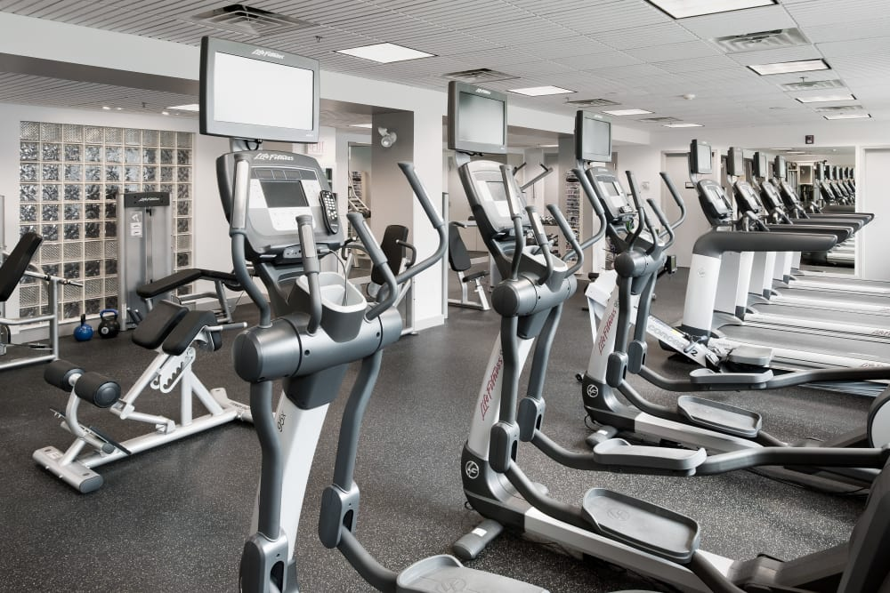 Exercise equipment in fitness center at Parkside Place in Cambridge, Massachusetts