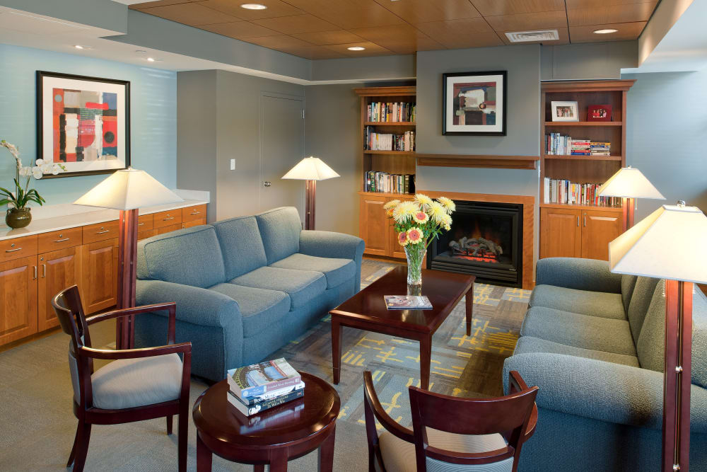 Seating area inside of clubhouse at Parkside Place in Cambridge, Massachusetts