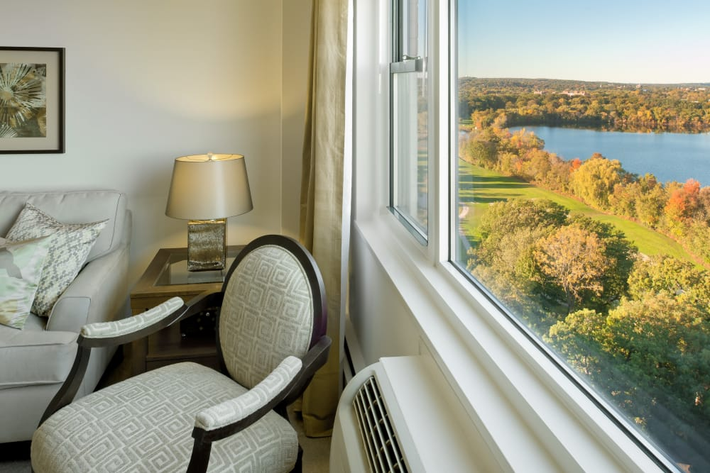 Beautiful view out the window of model living room at Parkside Place in Cambridge, Massachusetts