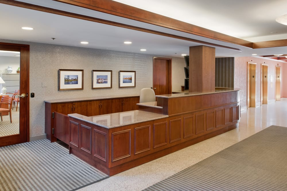 Reception area at Parkside Place in Cambridge,