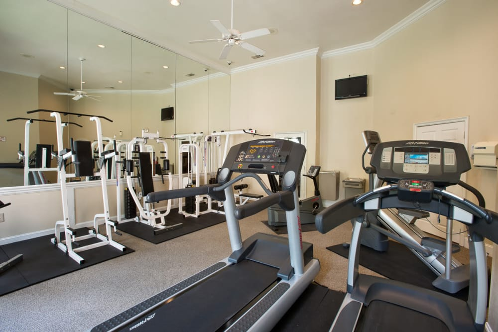 Spacious fitness center at Briargrove at Vail in Dallas, Texas