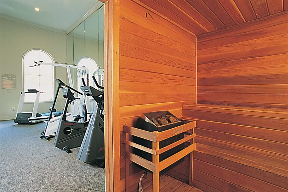 Modern dry sauna at Briargrove at Vail in Dallas, Texas
