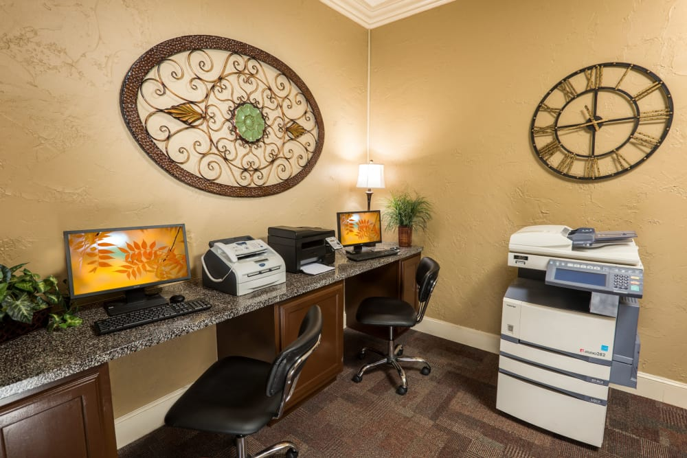 Well equipped business center at Briargrove at Vail in Dallas, Texas