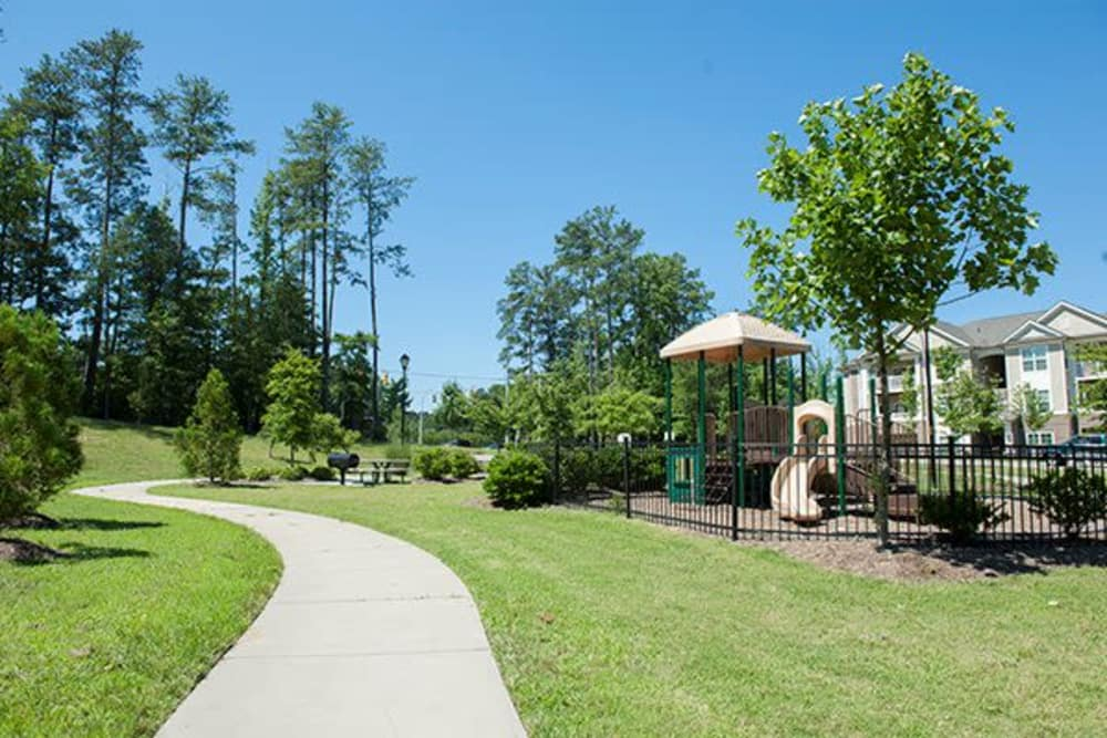 Beautiful Landscape and walking paths at Sterling Town Center in Raleigh, North Carolina