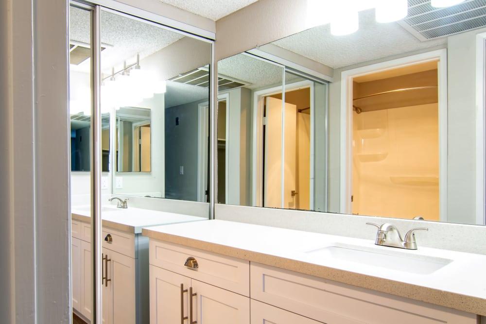 Plenty of bathroom counterspace at Avana La Jolla Apartments in San Diego, CA