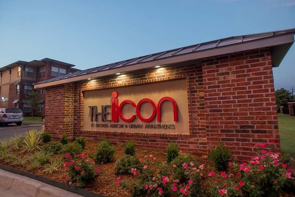 Front sign at Icon at Broken Arrow in Broken Arrow, Oklahoma