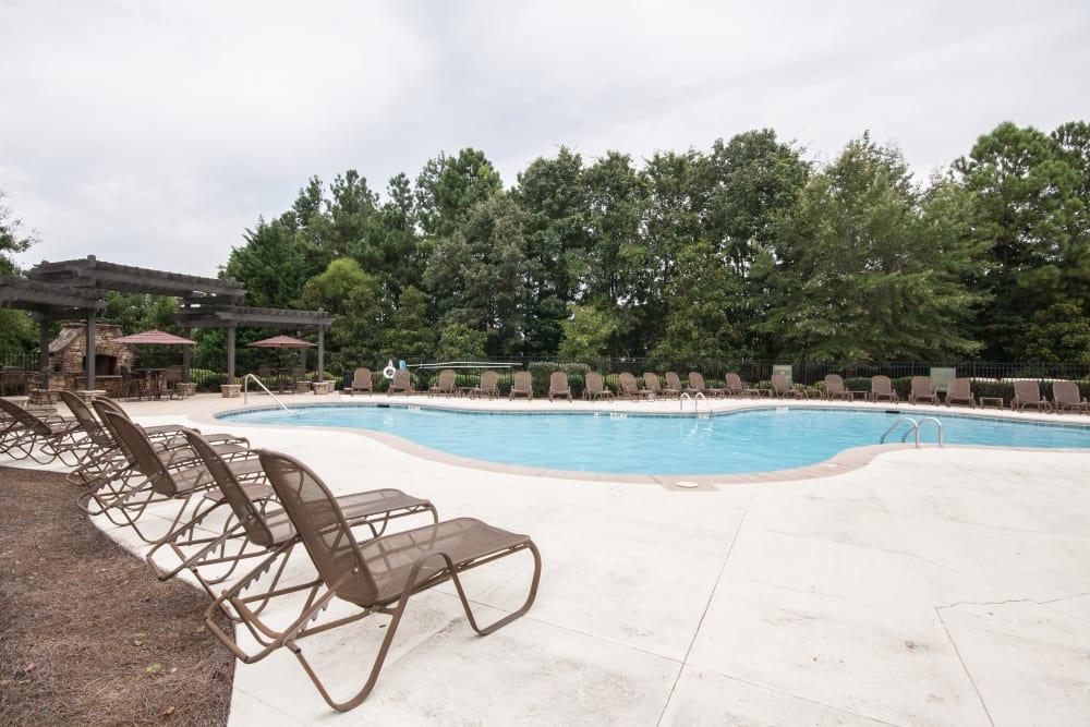 Pool area at One Rocky Ridge Apartment Homes in Douglasville, Georgia