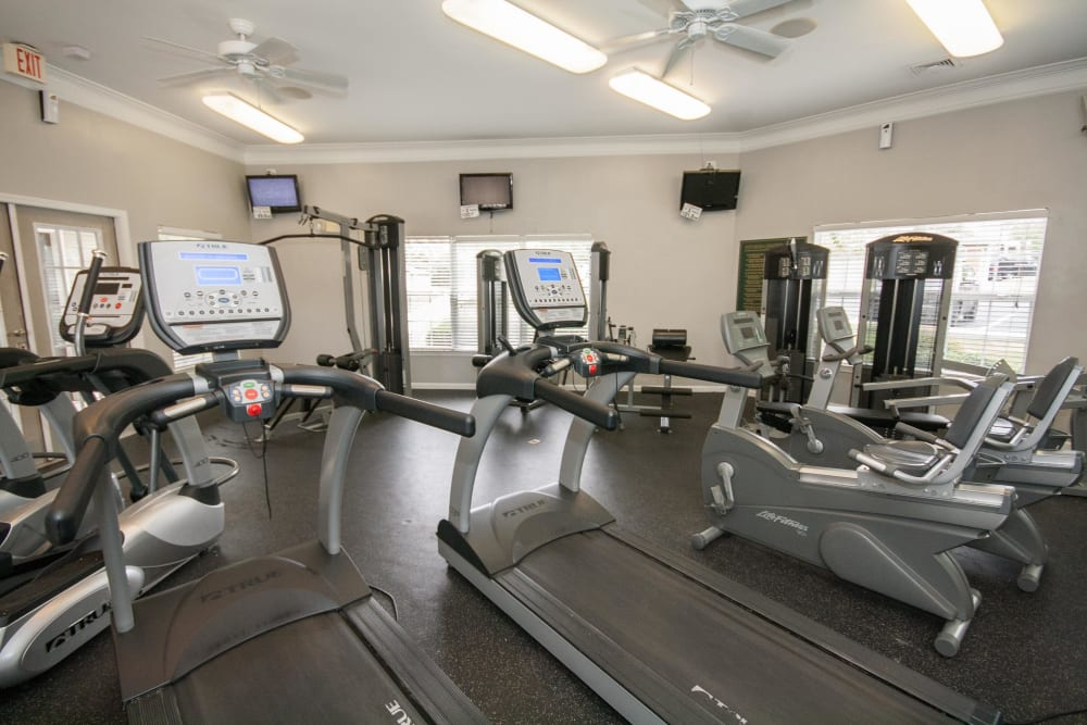 Spacious fitness center at One Rocky Ridge Apartment Homes in Douglasville, Georgia