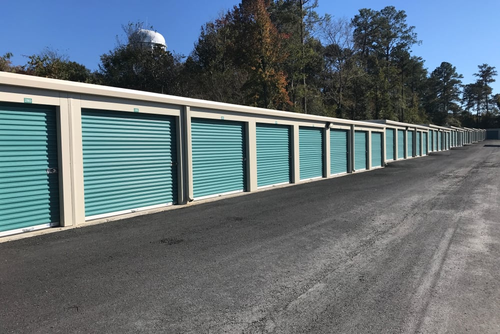 Exterior storage units at Byron Self Storage in Byron, Georgia