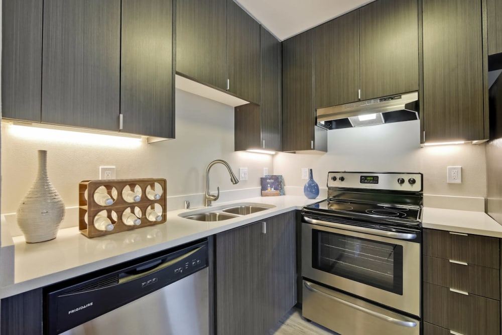 Stainless-steel appliances at apartments in Palo Alto, CA