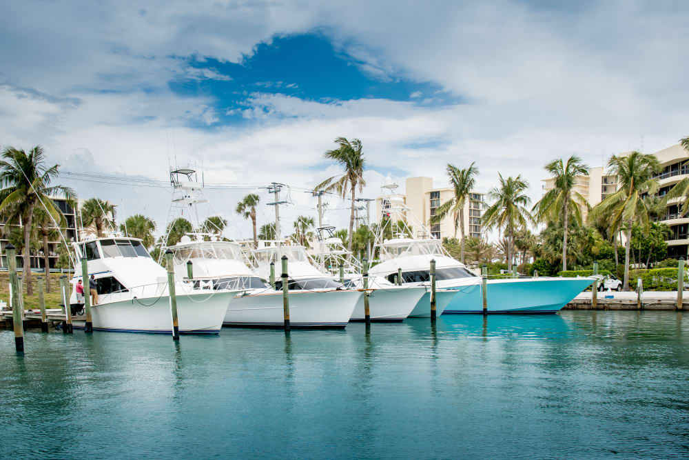 Boats docked near The Sophia at Abacoa in Jupiter, Florida