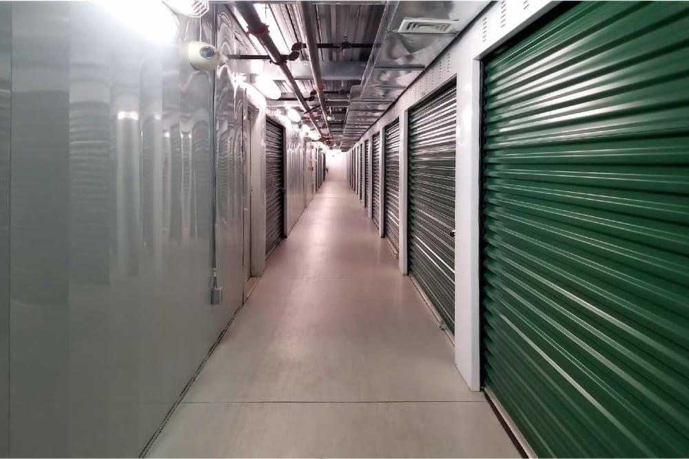 Inside aisle at Reservoir Self Storage in Providence, Rhode Island