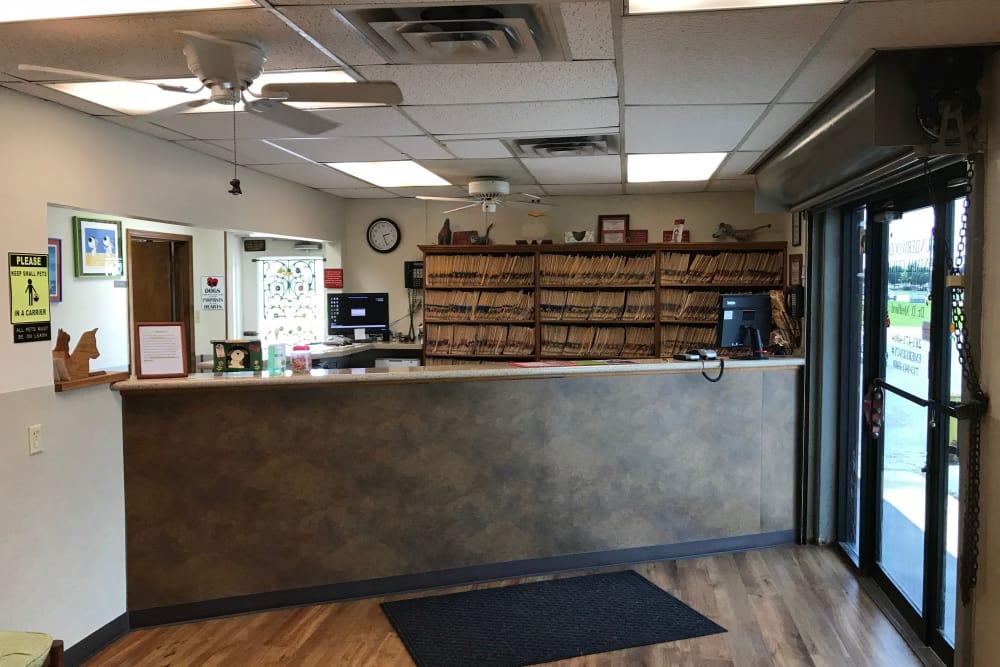 Front desk at Underwood Animal Clinic in La Porte, TX