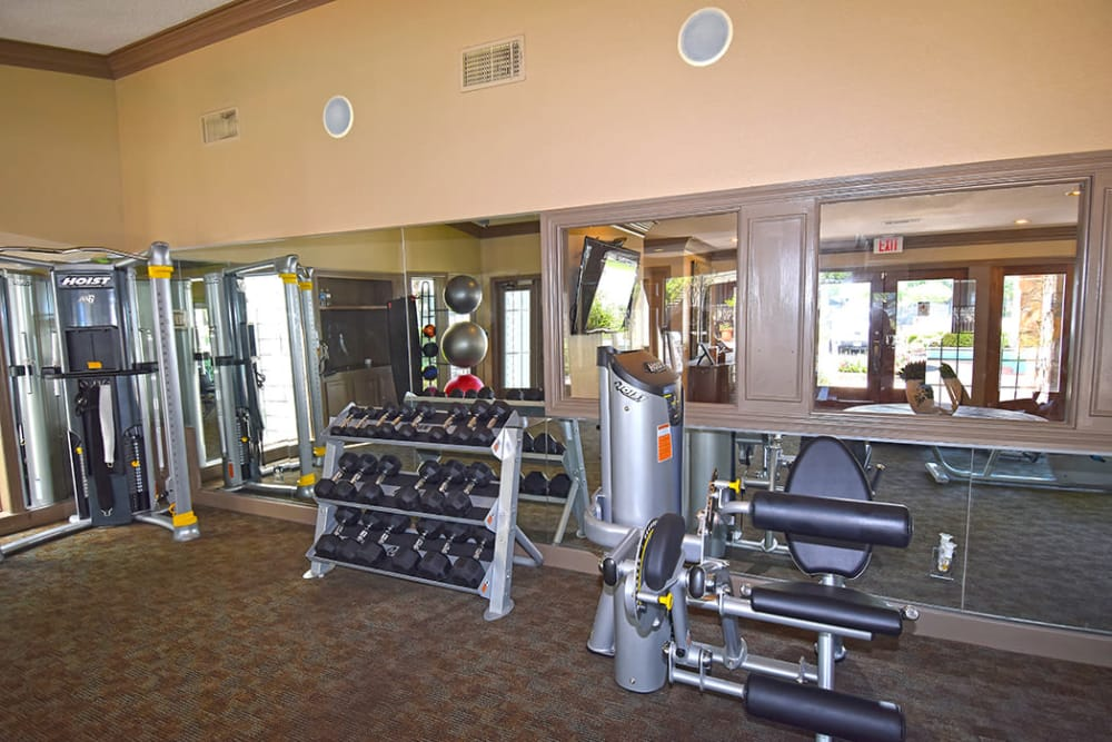 Fitness center at The Lodge on El Dorado in Webster, Texas