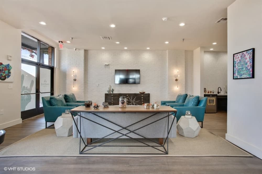 Spacious living room at K Avenue Station in Plano, Texas