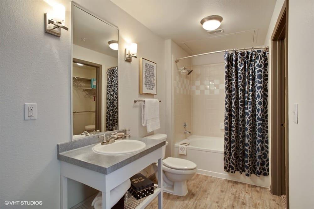 Modern bathroom at apartments in Plano, Texas
