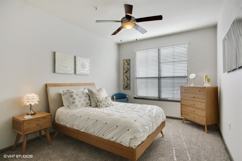 Cozy bedroom at K Avenue Station in Plano, Texas